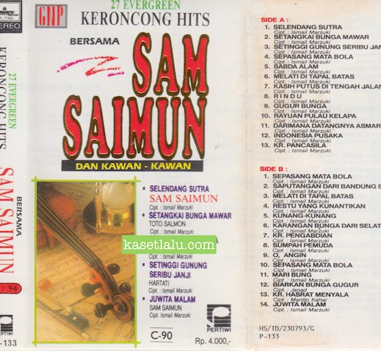 P 133 - 27 EVERGREEN KERONCONG HITS BERSAMA SAM SAIMUN DAN KAWAN KAWAN